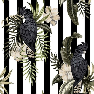 Plakat  Tropical vintage black exotic parrot, hibiscus flower, palm leaves floral seamless pattern striped background. Exotic jungle wallpaper.