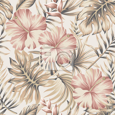 Plakat Tropical vintage hibiscus flower, palm leaves floral seamless pattern ivory background. Exotic jungle wallpaper.
