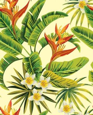 Plakat Tropikalne Kwiaty I Rośliny Egzotyczne Wzór