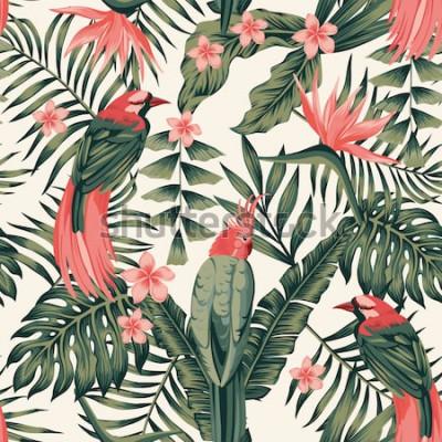 Plakat Tropikalne liście, kwiaty frangipani, rajskie ptaki, papuga streszczenie kolory bezszwowe realistyczne grafika wektorowa