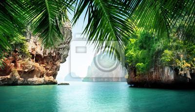 Plakat tropikalne morze i skały