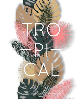 Plakat Tropikalny wzór na banner, plakat. Ilustracji wektorowych.