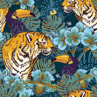 Plakat Tropikalnych kwiatów bezszwowe tło z Tygrysa