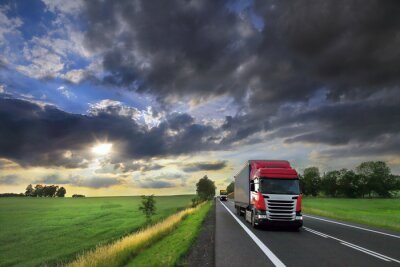 Truck transport on the road and cargo