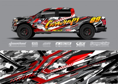 Plakat Truck wrap design vector illustration. Modern sport graphics. Abstract stripe racing and grunge background for wrap all vehicle, race car, rally, adventure vehicle and car livery.