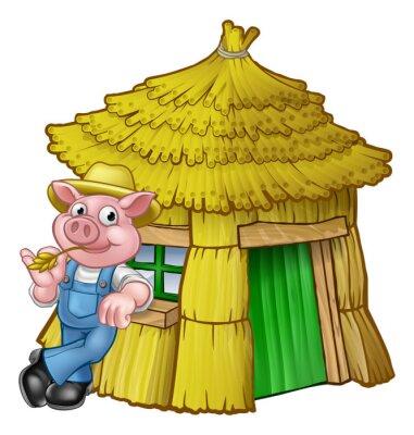 Plakat Trzy małe świnie Bajki Dom Słomy