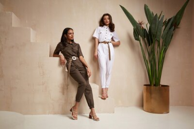 Plakat Two beautiful woman fashion model brunette hair friends wear overalls suit casual style sandals high heels accessory clothes safari Sahara journey summer hot collection plant flowerpot wall stairs.