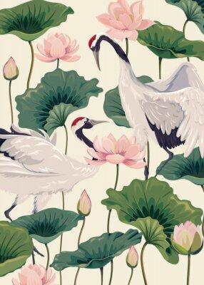 Plakat two japanese cranes and pink lotus