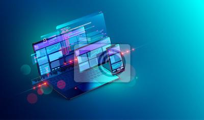 Plakat Tworzenie stron internetowych i kodowanie. Witryna programistyczna dla wielu platform. Adaptacyjna strona internetowa układu lub interfejs sieciowy na ekranie laptopa, tabletu i telefonu. Ilustracja k