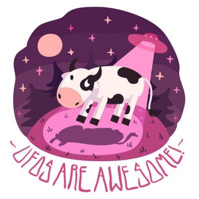 Plakat UFO są niesamowite! plakat wektorowe (tło i karty) z krowy na wzgórzu i UFO w nocy z pełni księżyca i gwiazd (cartoon stylu)