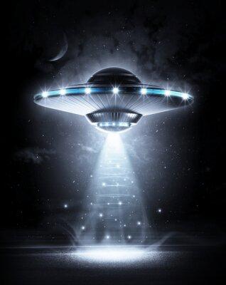 Plakat UFO w ciemną noc