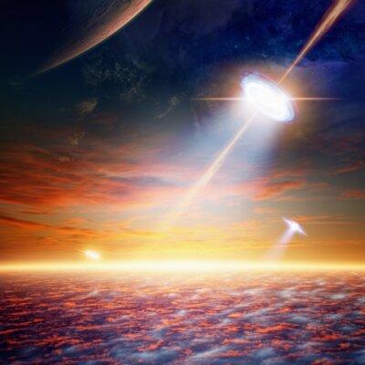 Plakat UFO w przestrzeni powietrznej