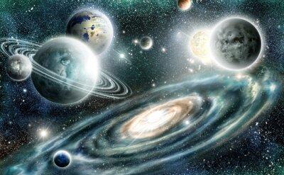 Plakat Układ słoneczny i galaktyka spiralna