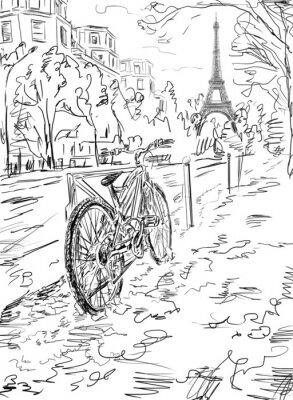 Plakat Ulica jesienią Paryżu. Wieża Eiffla -sketch ilustracji