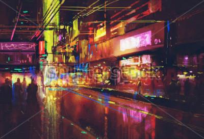 Plakat ulica miejska z oświetleniem i nocnym życiem, obraz cyfrowy
