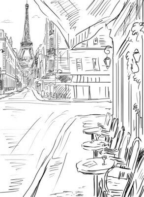 Plakat Ulica w Paryżu szkic ilustracji