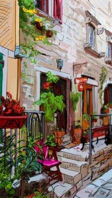 Plakat Ulica w Rzymie - ilustracji