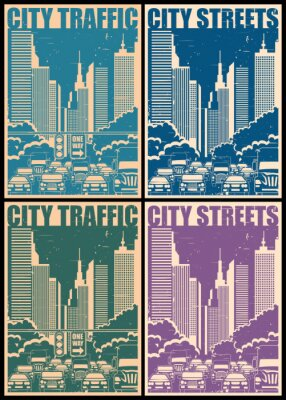 Plakat Ulice miasta retro plakaty