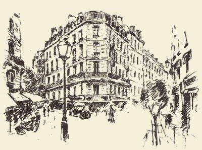 Plakat Ulice Paryż Francja rocznika rysowane ilustracji