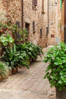 Plakat Ulice starego włoskiego miasta Pienza, Toskania