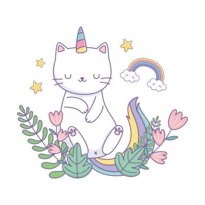 Plakat Unicorn cat cartoon vector design