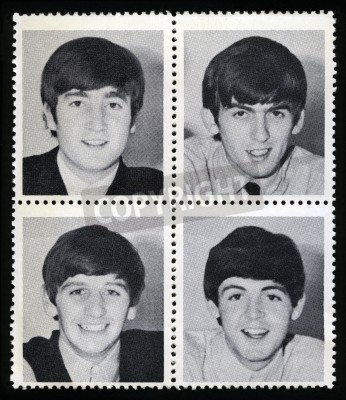 Plakat UNITED KINGDOM - CIRCA 1963: Vintage Merchandise stamps each portraying an image of a member of 'The Beatles', circa 1963.