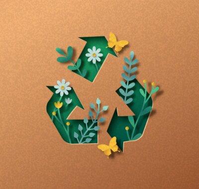 Plakat Upcycling green paper cut symbol nature concept