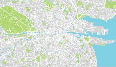 Plakat Urban mapa miasta Dublin, Irlandia