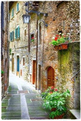 Plakat urocze stare uliczki średniowiecznych miast Włoch