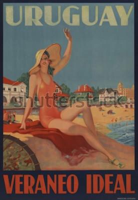 Plakat Urugwaj, Veraneo Ideal. Plakat podróżny z lat 30. XX wieku pokazuje piękno kąpieli na plaży.