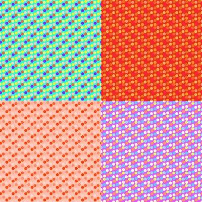 Ustaw bezszwowy kolorowy wzór z Polką, składający się z kształtów. Wektor tła mody