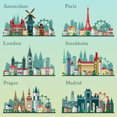 Plakat Ustawić Miasta skylines. Vector płaskie krajobrazy. Widoki miast europejskich miastach