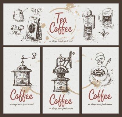 Plakat ustawić rysunek naczyń do picia herbaty i kawy
