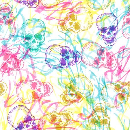 ute kolorowe bezszwowe wektor wzór tła ilustracji z czaszek i ręcznie pędzlem tekstury. Pastelowe kolory. Moda styl boho chic hipster. Oryginalny nastoletni projekt