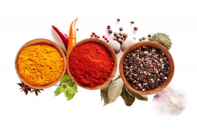 Plakat Various spices isolated on white background