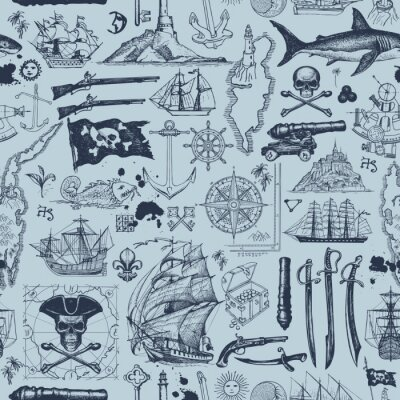 Plakat Vector abstract seamless pattern with skulls, crossbones, flag, swords, guns, sailboats, islands and other nautical symbols. Vintage background on the pirate theme with hand-drawn sketches