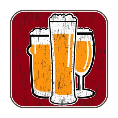 Plakat vector coaster with different beer glasses with scratch