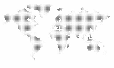Plakat Vector dotted world map. isolated background. Flat Earth, gray map template for web site pattern, anual report, inphographics. Globe similar worldmap icon. Travel worldwide, map silhouette backdrop
