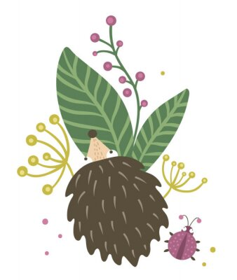 Plakat Vector hand drawn flat hedgehog with berries, leaves and ladybug clip art. Funny autumn scene with prickly animal having fun. Cute woodland animalistic illustration for children's design, print