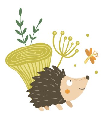 Plakat Vector hand drawn flat hedgehog with mushroom and dragonfly clip art. Funny autumn scene with prickly animal having fun. Cute woodland animalistic illustration for children's design, print,