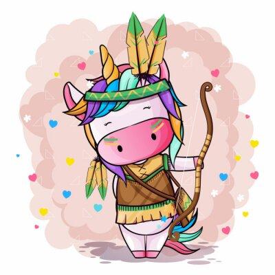 Plakat Vector hand drawn illustration of a cute unicorn