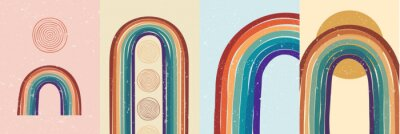 Plakat Vector illustration. Abstract poster set. Contemporary backgrounds. Colorful rainbow. Design elements for book cover, page template, print, card, brochure, magazine, poster. 60s, 70s retro graphic