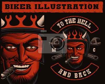 Vector Illustration of a Devil Biker