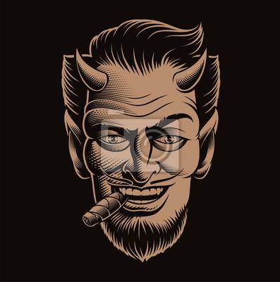 Vector illustration of a devil face smoking a cigar