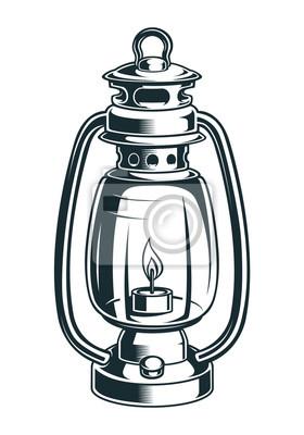 Vector illustration of a kerosene lamp