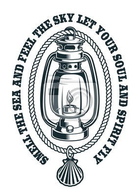 Vector illustration of a kerosene lamp with rope