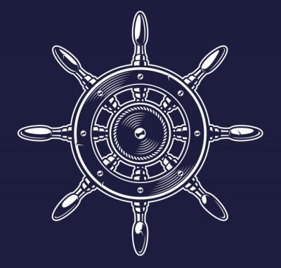 Vector illustration of a ship's wheel on the dark background