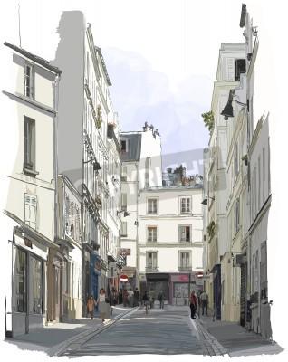 Plakat Vector illustration of a street near Montmartre in Paris