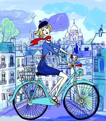 Plakat vector illustration of a young woman on a bicycle in Paris