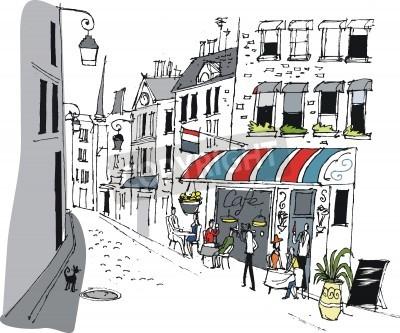 Plakat Vector illustration of cafe in Paris, France.
